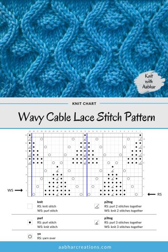 Wavy Cable Lace Stitch Chart aabharcreations