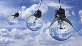 dangling lightbulbs in clouds to signify new ideas