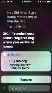 Screenshot of geofenced Reminder via Siri.