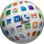 Image of globe with app icons