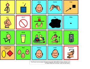 A core vocabulary board with 20 icons.