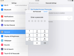 Image of iPad screen for setting a pass code in Guided Access