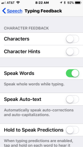 Image of Typing feedback accessibility feature on iPhone