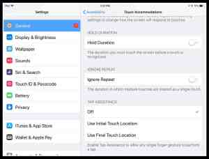 Image of Touch Accommodations on iPad settings