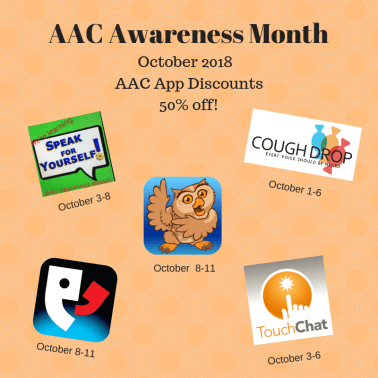 Image of poster showing some of the AAC apps on sale for AAC Awareness Month