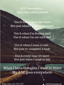 Image of a mountain road with an AAC poem