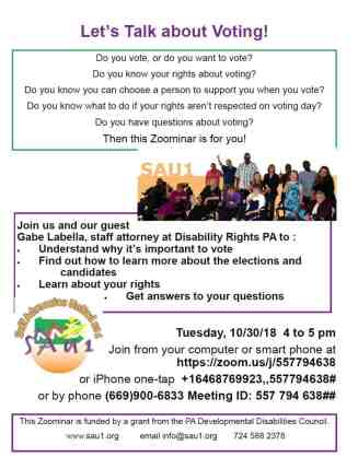 Image of flyer with information about the webinar on voting rights.
