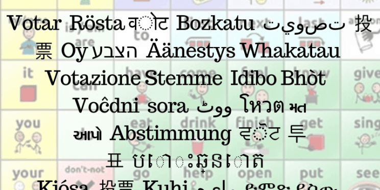 Image of an AAC device with words overlaid for Vote in many languages.