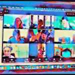 Colorful, blurred screenshot of a Zoom meeting.
