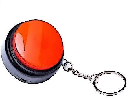 red button on a keychain
