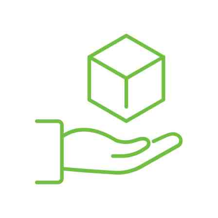 """Green line drawing of a hand holding a cube to represent the word """"object""""."""