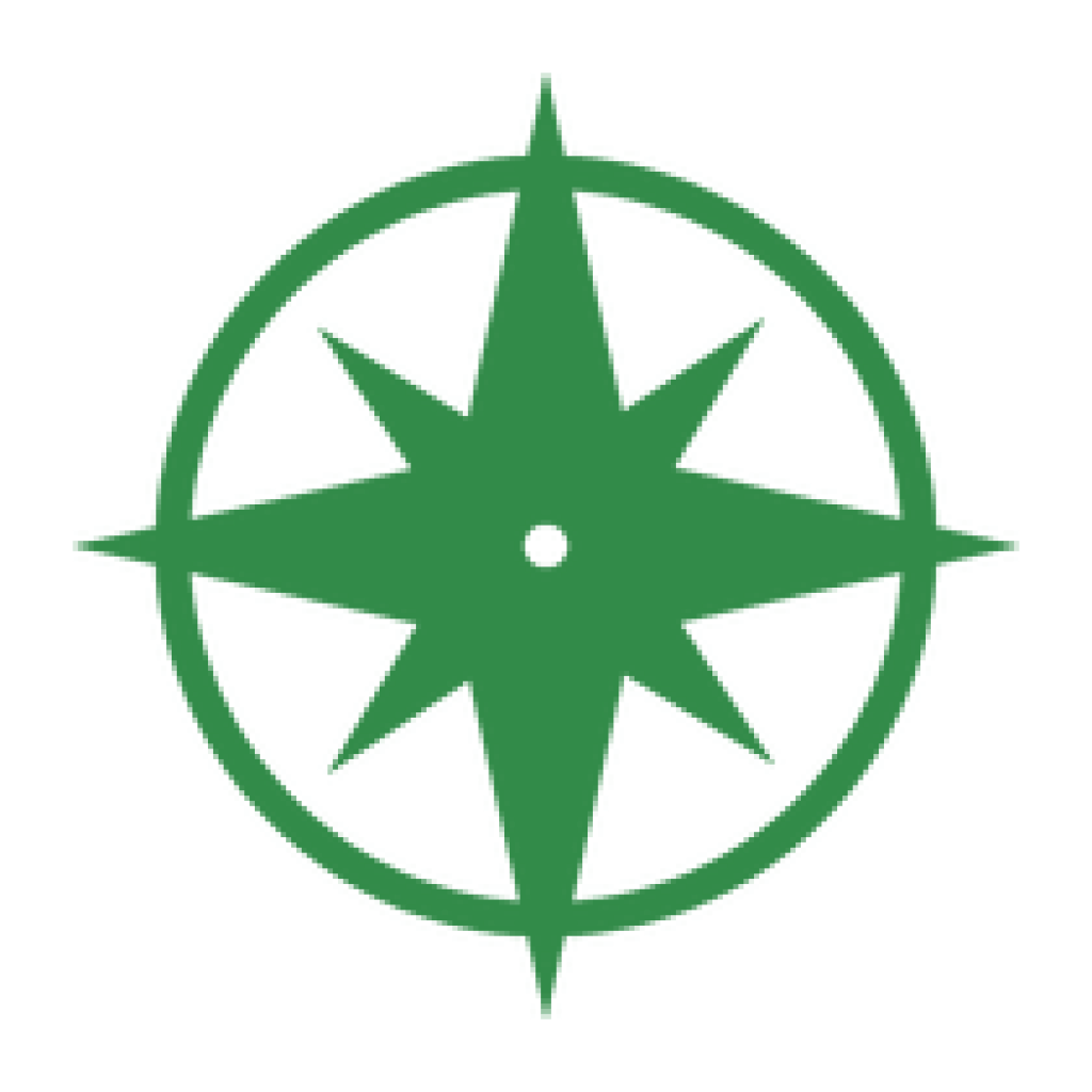 Green Compass with four points