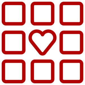 a heart surrounded by symmetrical squares