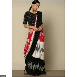 Hand printed Pure Mulmul Cotton Saree with BP