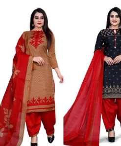 Attractive Cotton Blend Printed Dress Materials (Combo Of 2)