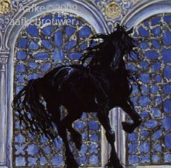 Horses in The Alhambra: Frisian