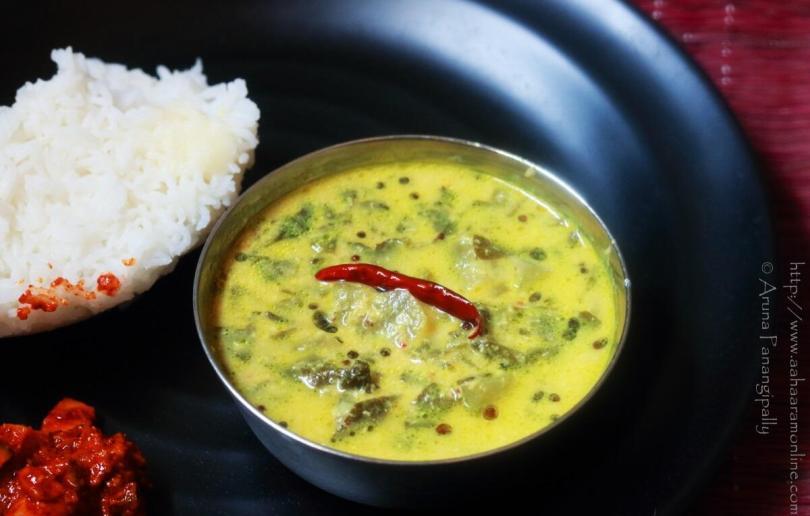 Andhra Bachali Kura Pulusu (Malabar Spinach Stew)