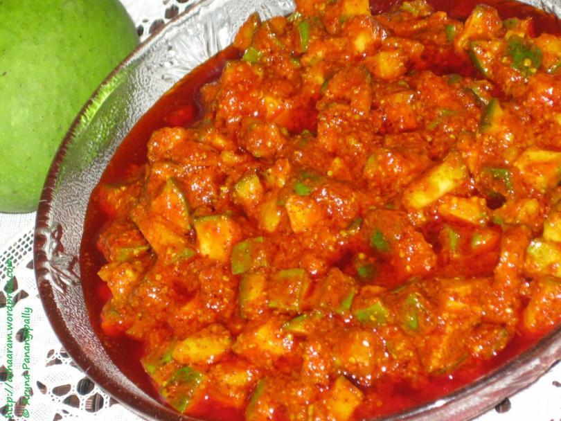 Mammidikaya Mukkalu or Quick Mango Pickle