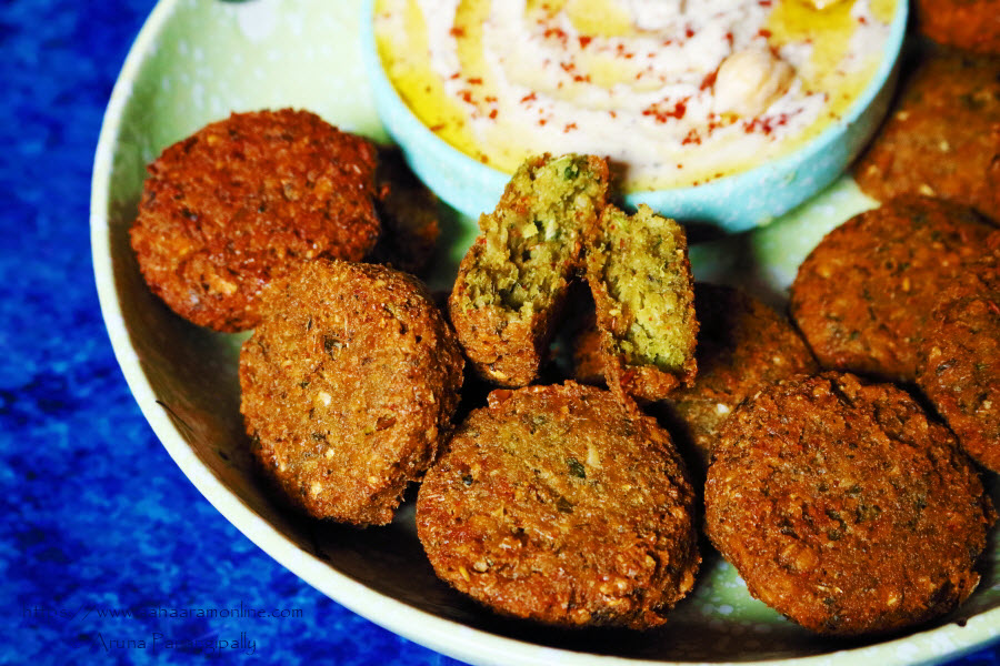 Falafel, a deep-fried chickpea fritter, served with Hummus