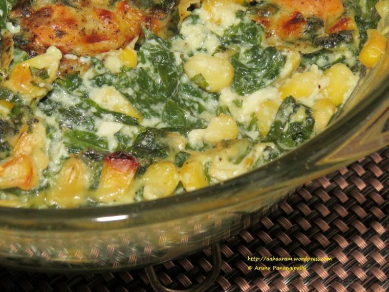 Cheesy Spinach Corn Casserole