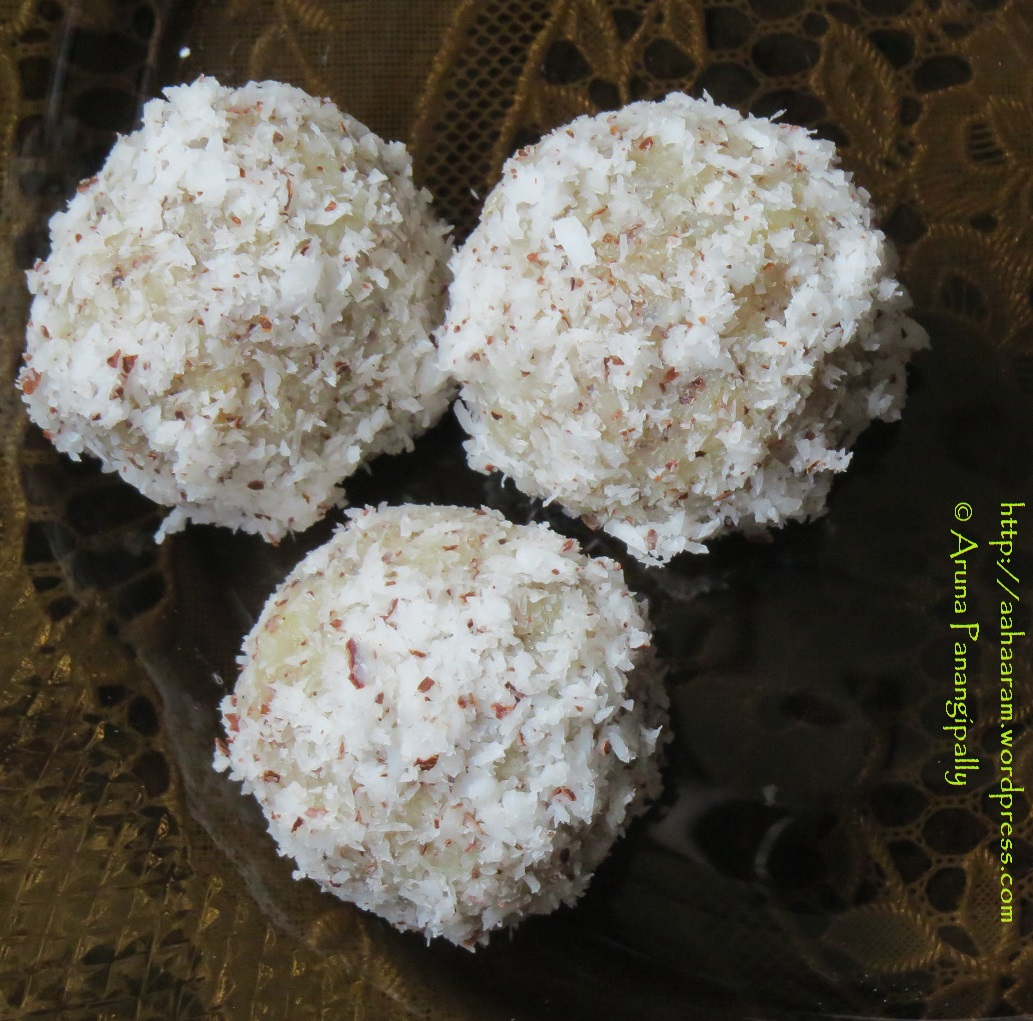 Quick and Easy Coconut Laddoo   Nariyal Laddu made with Grated Coconut and Condensed Milk