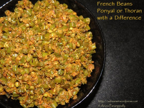 French Beans Poriyal or Thoran with a Difference