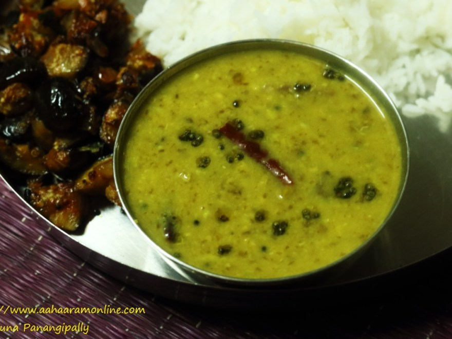 Chukka Kura Pappu with rice and brinjal stir-fry