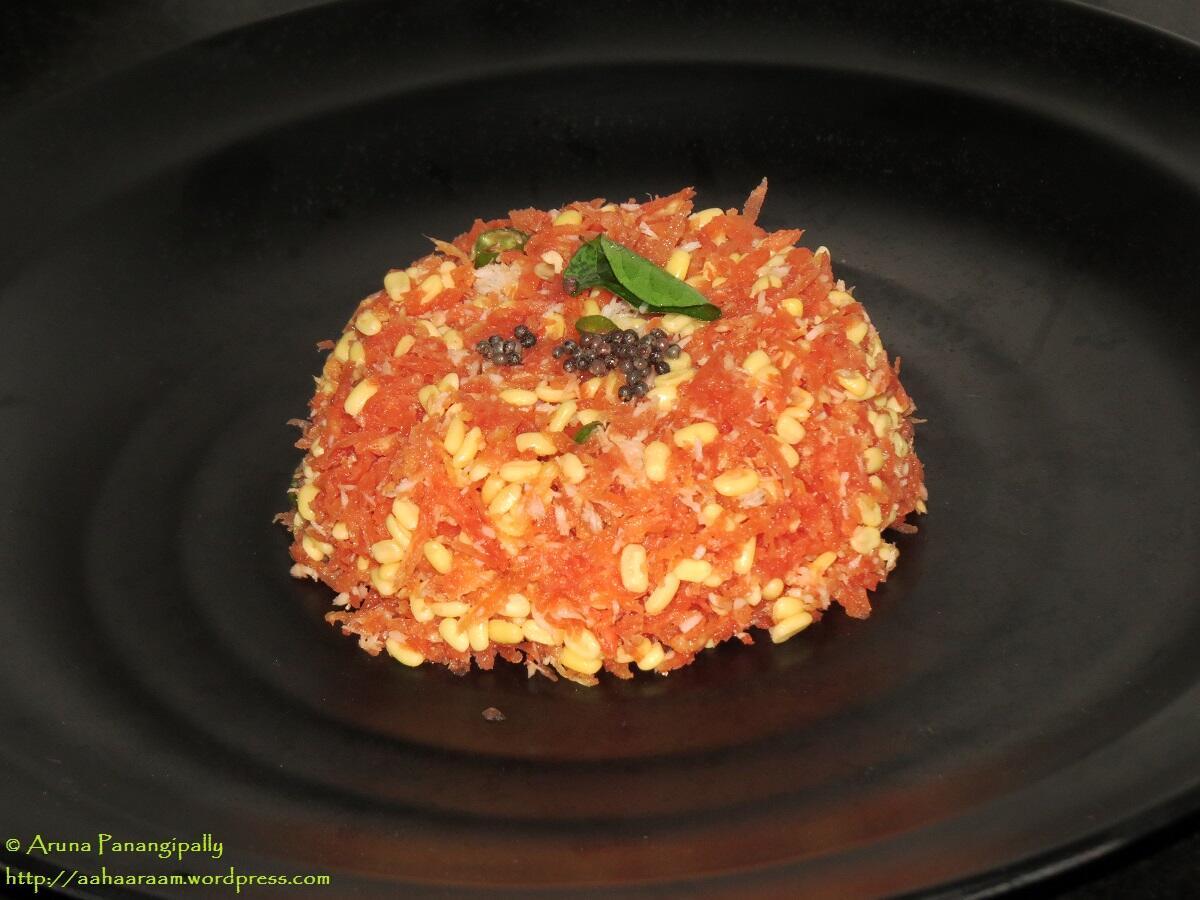 Carrot Hesarubele Kosambari - Moong Dal and Grated Carrot Salad from Karnataka