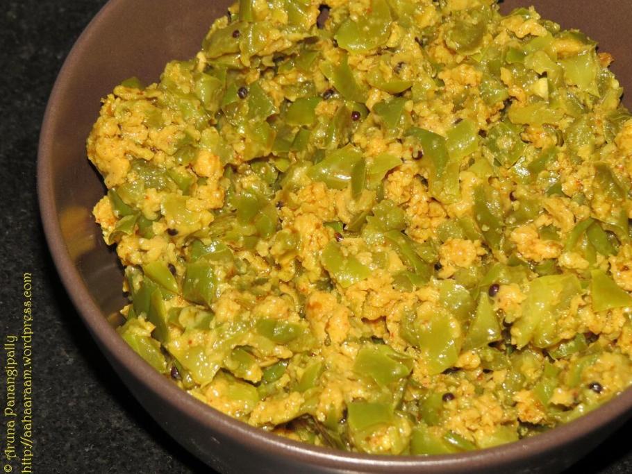 Besan Wali Shimla Mirch ki Bhaji - Capsicum Curry with Gram Flour