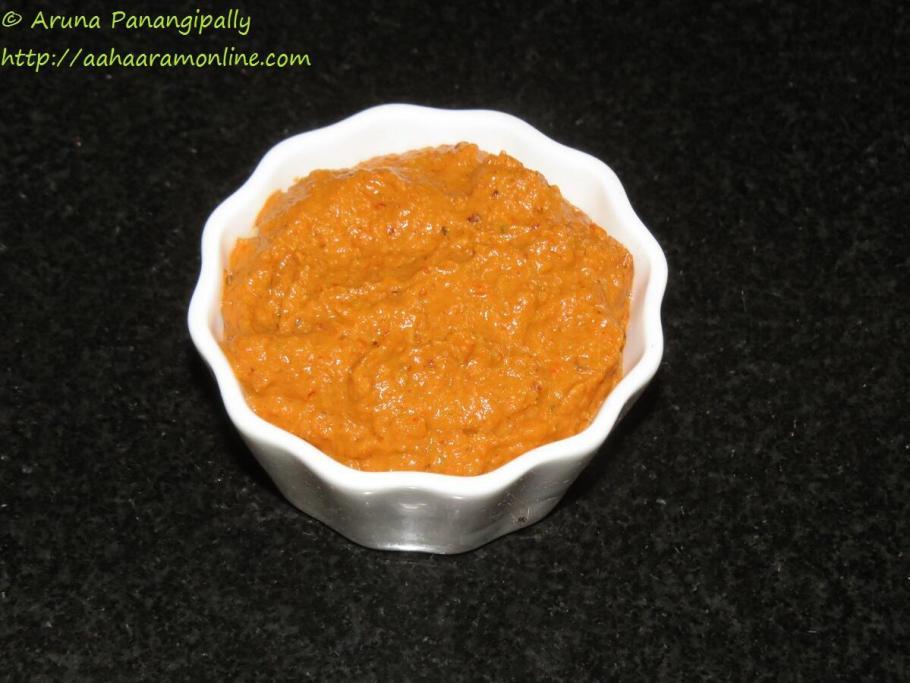 Red Capsicum Chutney or Red Bell Pepper Pachadi