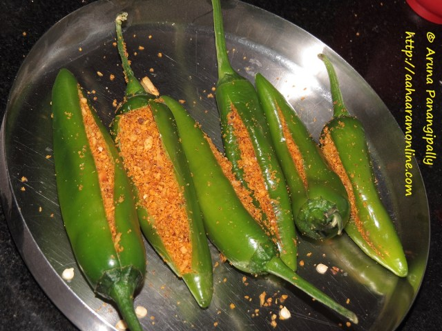 Stuffed Bharli Mirchi - Before Frying
