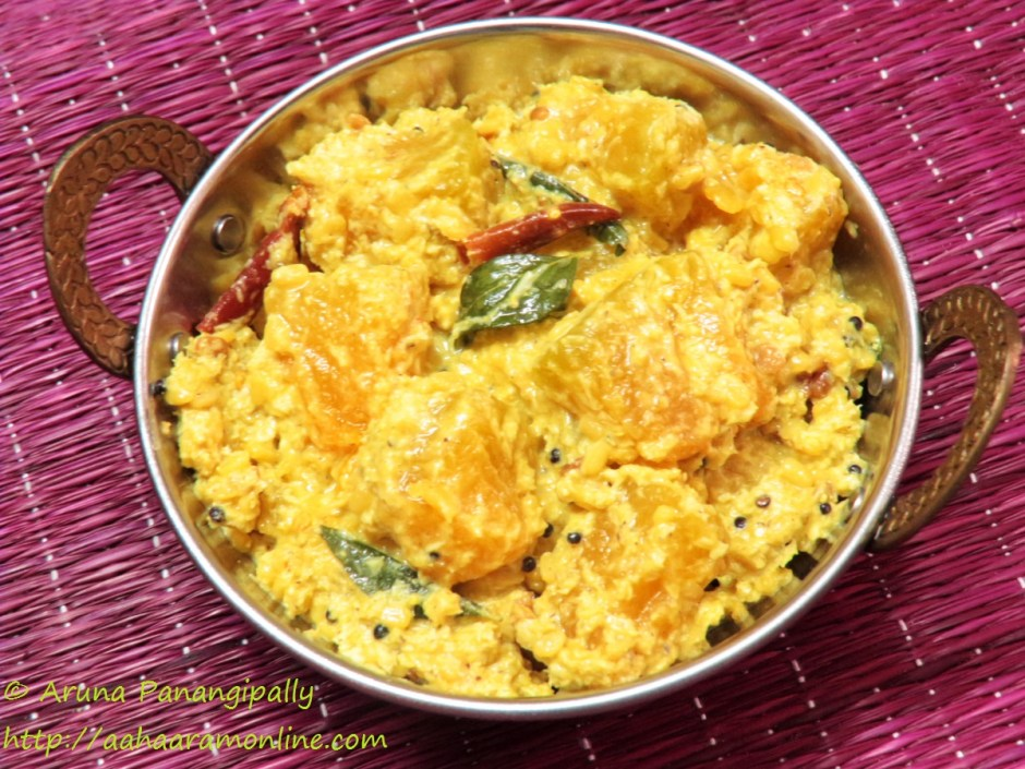 Gummadikaya Koora. Andhra Style Red Pumpkin Curry