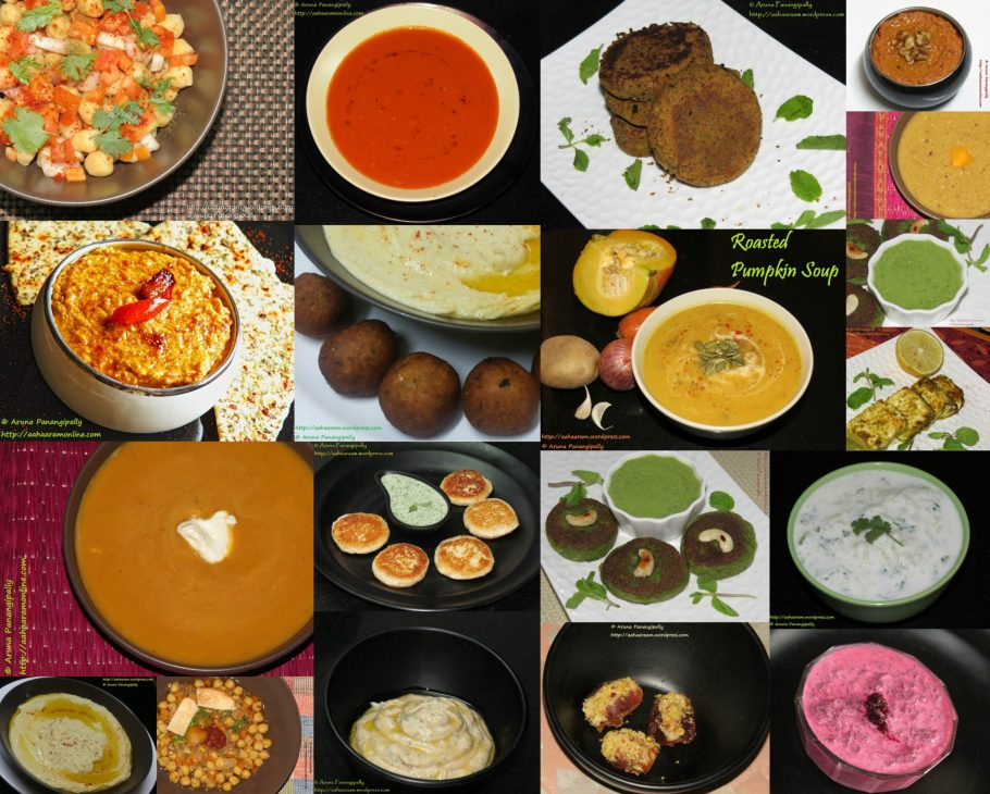 A collection of vegetarian recipes for starters (dips, kebabs, soups) for Ramzan aka Ramadan