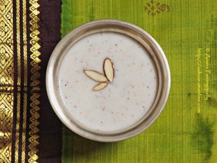 Vegan Gasagasala Payasam, Gasagasala Payasam, Khus Khus Kheer, Poppy Seeds Kheer with Cashews and Almonds