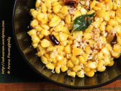 Sweet Corn Sundal | Boiled American Sweet Corn Seasoned with Grated Coconut