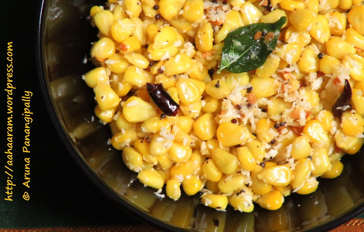 Sweet Corn Sundal | Boiled American Sweet Corn Seasoned with Grated Coconut