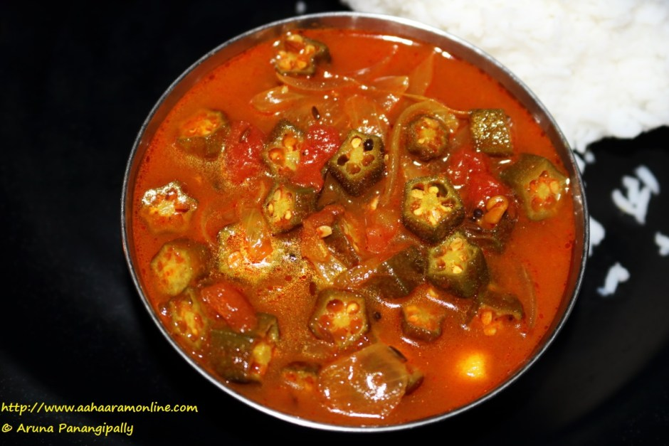 Lady fingers in a tamarind gravy