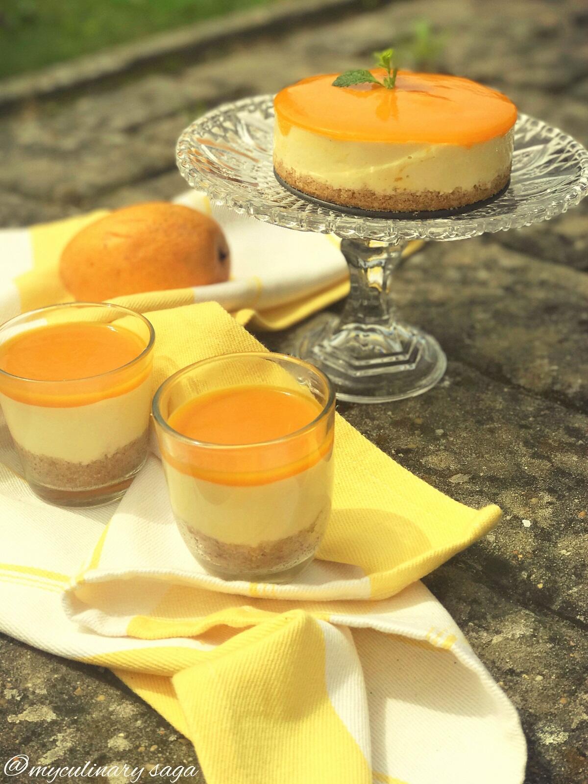 Eggless, No Bake Mango Cheesecake