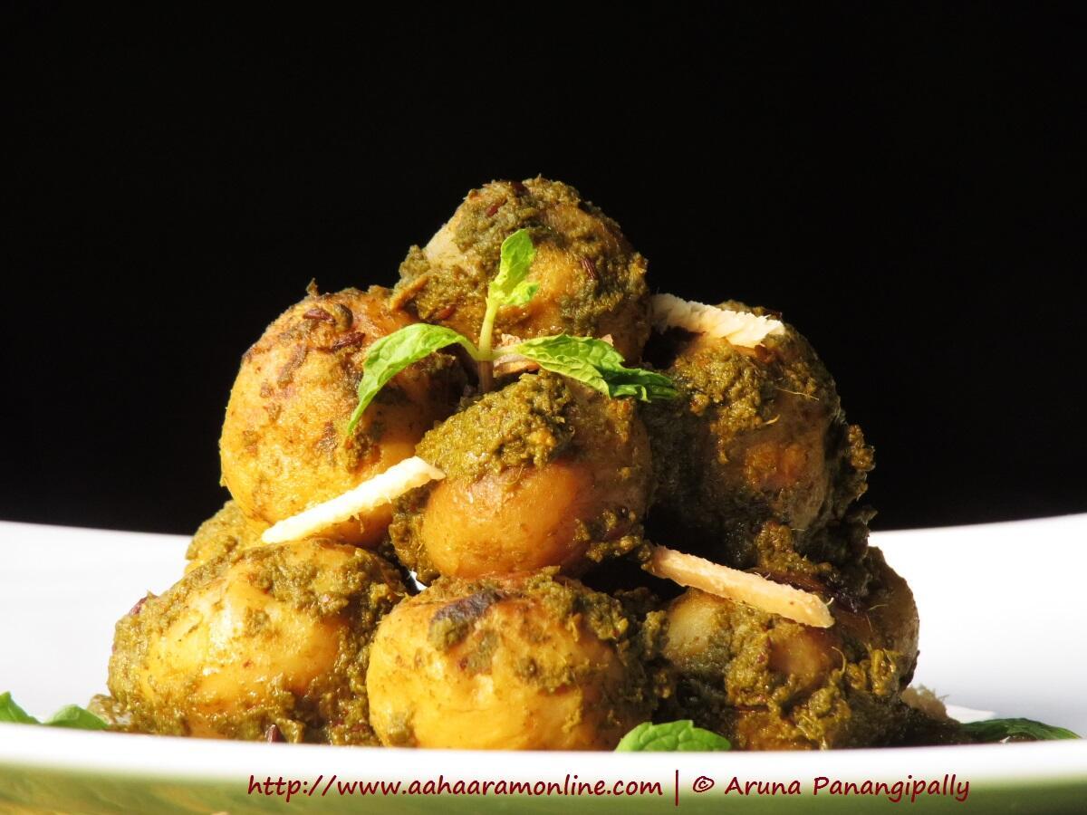 Aloo Chutneywale | Baby Potatoes Cooked in Coriander Mint Chutney