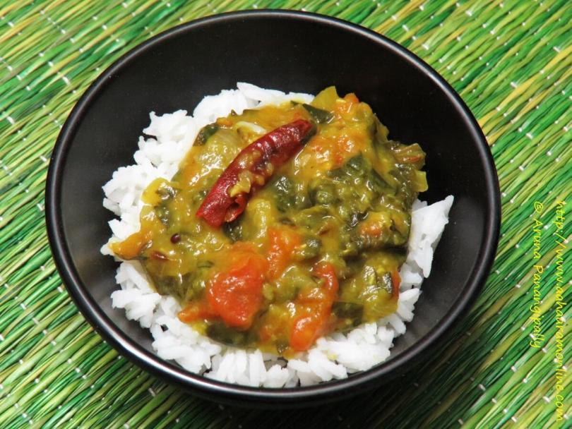 Masoor aur Arbi ke Patte ki Dal with rice