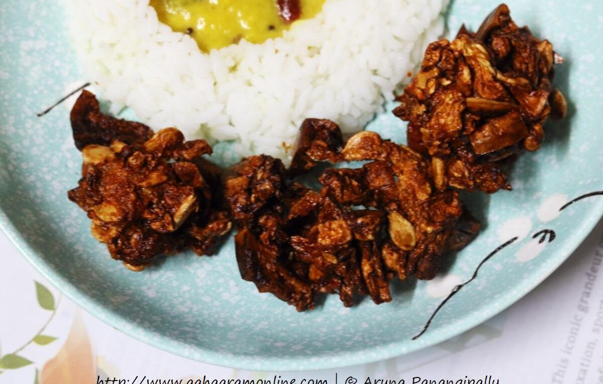 Deep-fried Budida Gummadikaya Vadiyalu | Sun-dried Ash Gourd Papad served with rice and dal