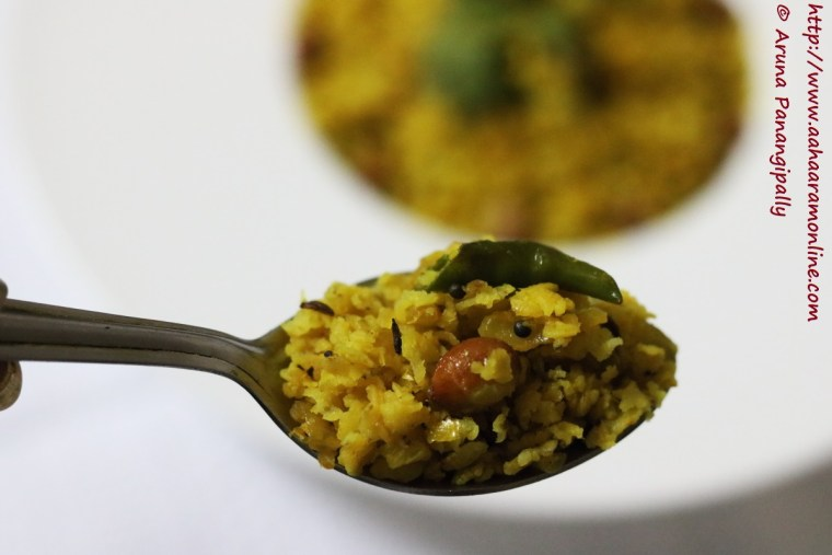 Spoonful of Kanda Pohe with Bajra Flakes
