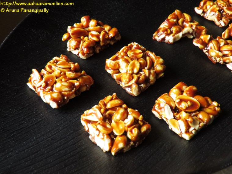 Indian Peanut Brittle made with jaggery and peanuts