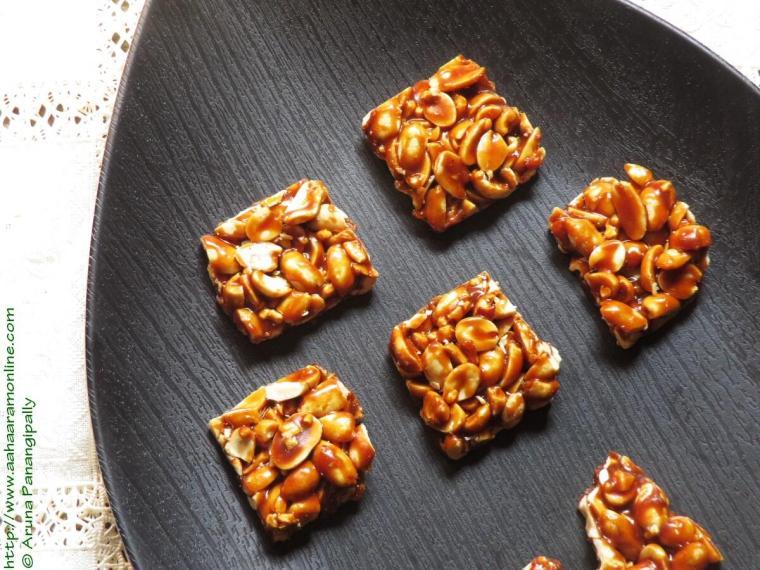 Shengdana Chikki made with roasted peanuts and jaggery