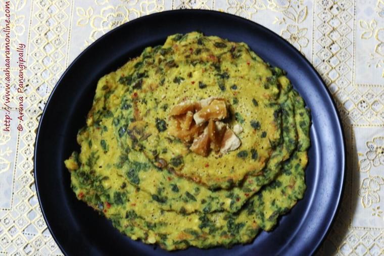 Murungai Keerai Adai | Paruppu Adai with Drumstick Leaves