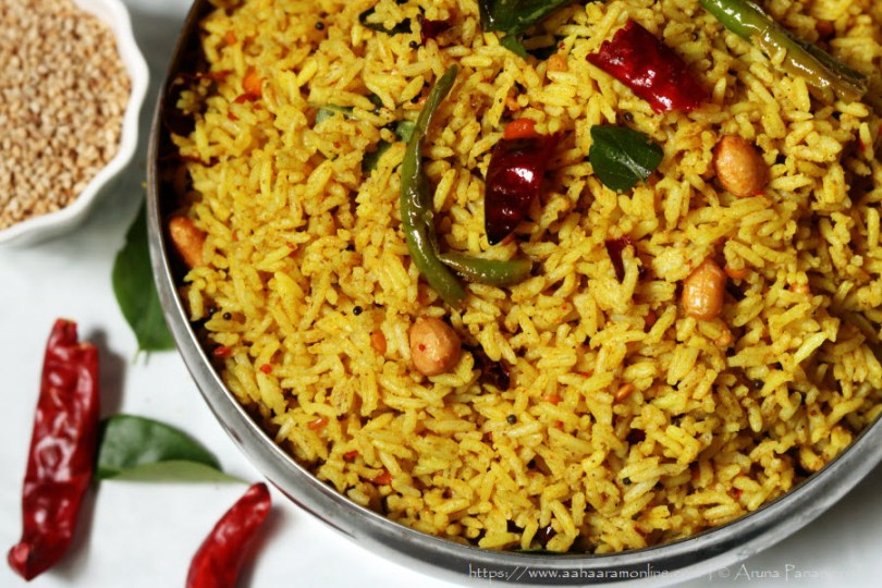 Nuvvula Chintapandu Pulihora | Tamarind Rice with Roasted Sesame Powder