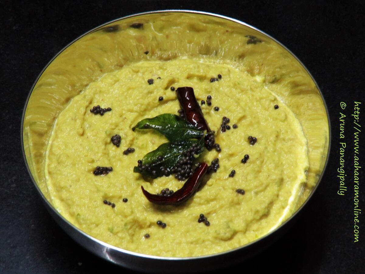 Andhra Mamidikaya Nuvvula Pachadi   Raw Mango and Sesame Chutney