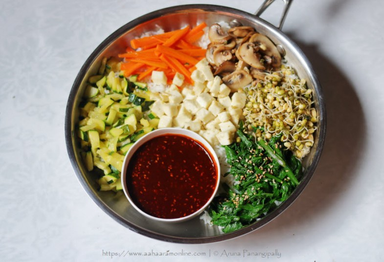 Vegetarian Bibimbap: Korean Mixed Rice with Protein & Vegetables