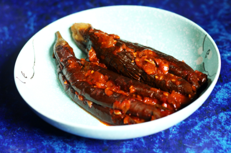 Gochujang Gaji-jjim | Spicy stuffed steamed eggplant