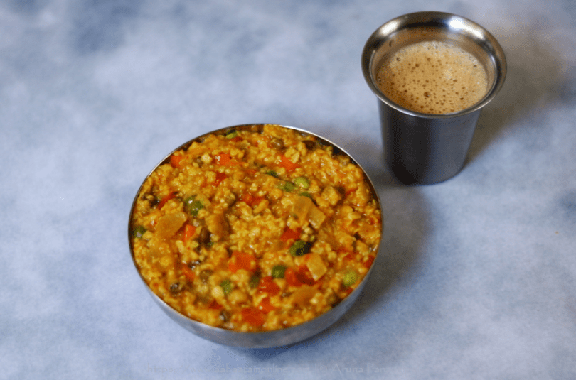 Masala Oats: Indian Savoury Oats with Vegetables and Sprouts